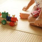 A toddler and a pull toy - push and pull toys are highly beneficial toys for 2-year-olds and above