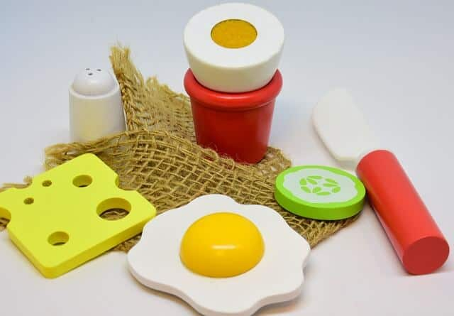 A set of play food - pretend toys like this enhances a child's creativity